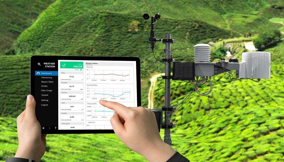 Una stazione meteorologica connessa a un tablet