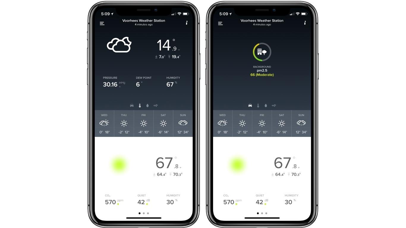 Uno smartphone con le condizioni meteorologiche
