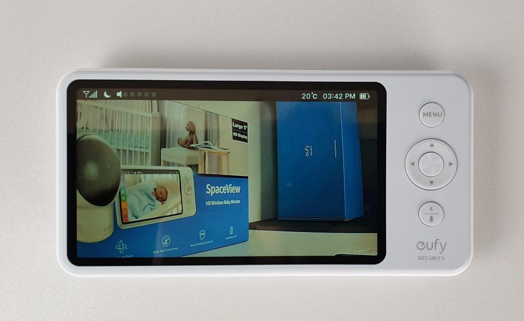 Baby monitor Eufy - dettaglio dello schermo