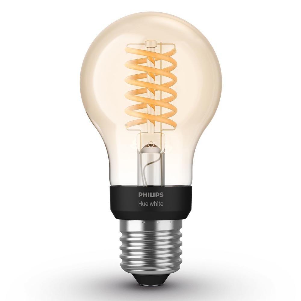 La lampadina Philips Lighting Hue White Filament A60 con sfondo bianco