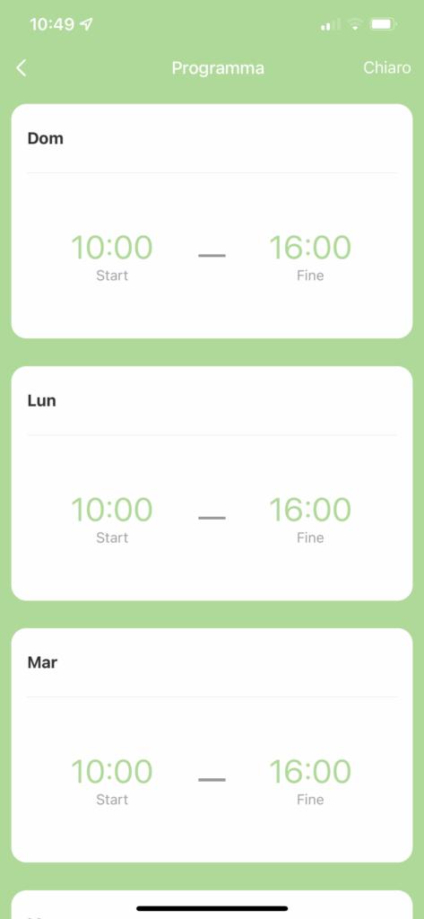app SØMLØS G1S giorni funzionamento